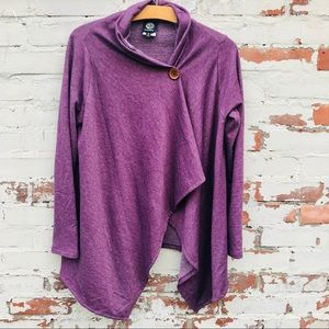 Bobeau Purple Cardigan with One Wood Button